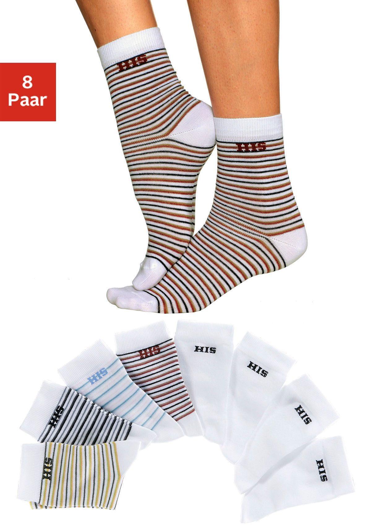 H.I.S Socken (8 Paar) geringelt und uni