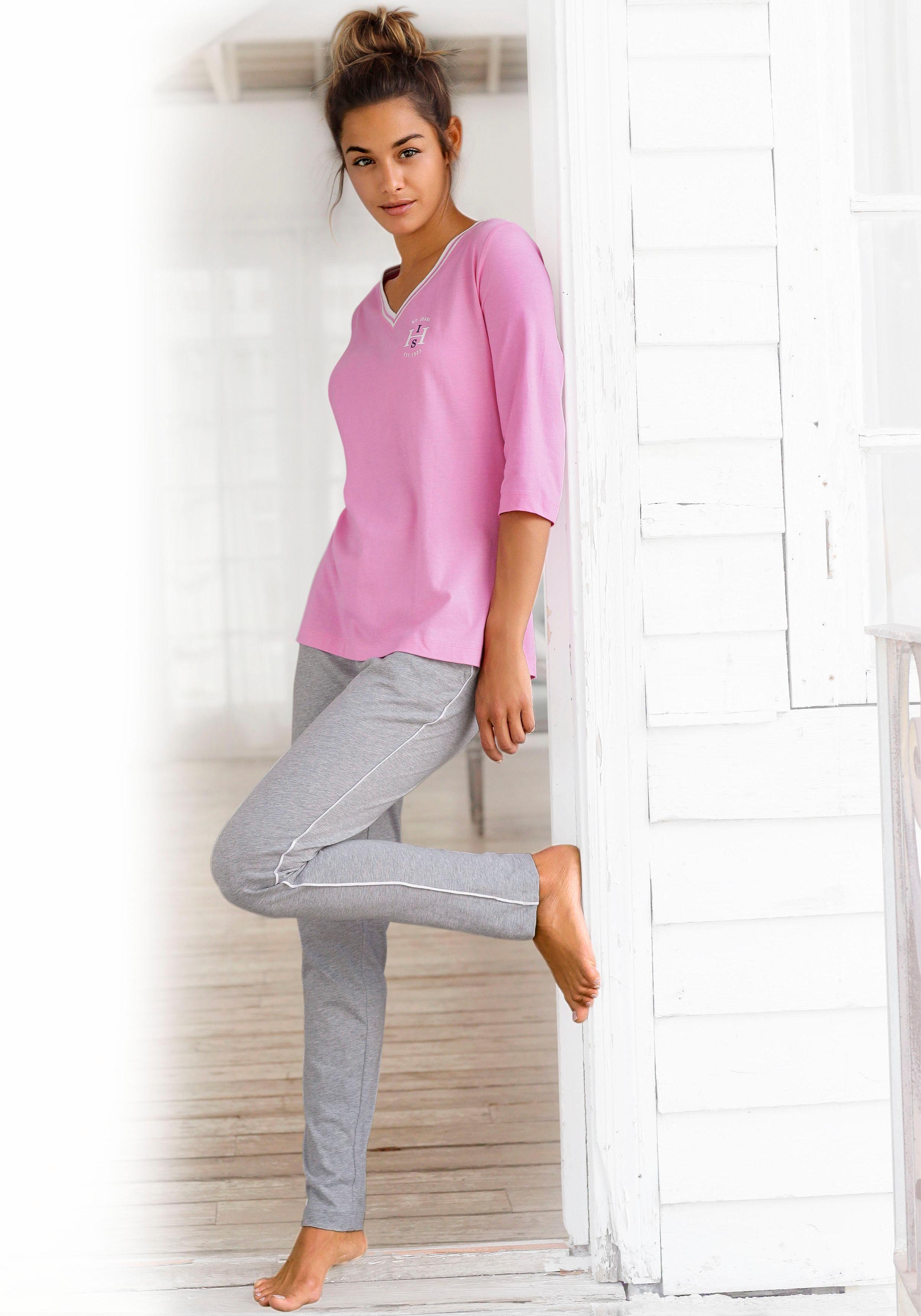 H.I.S Pyjama mit gestreiften Rippbündchen