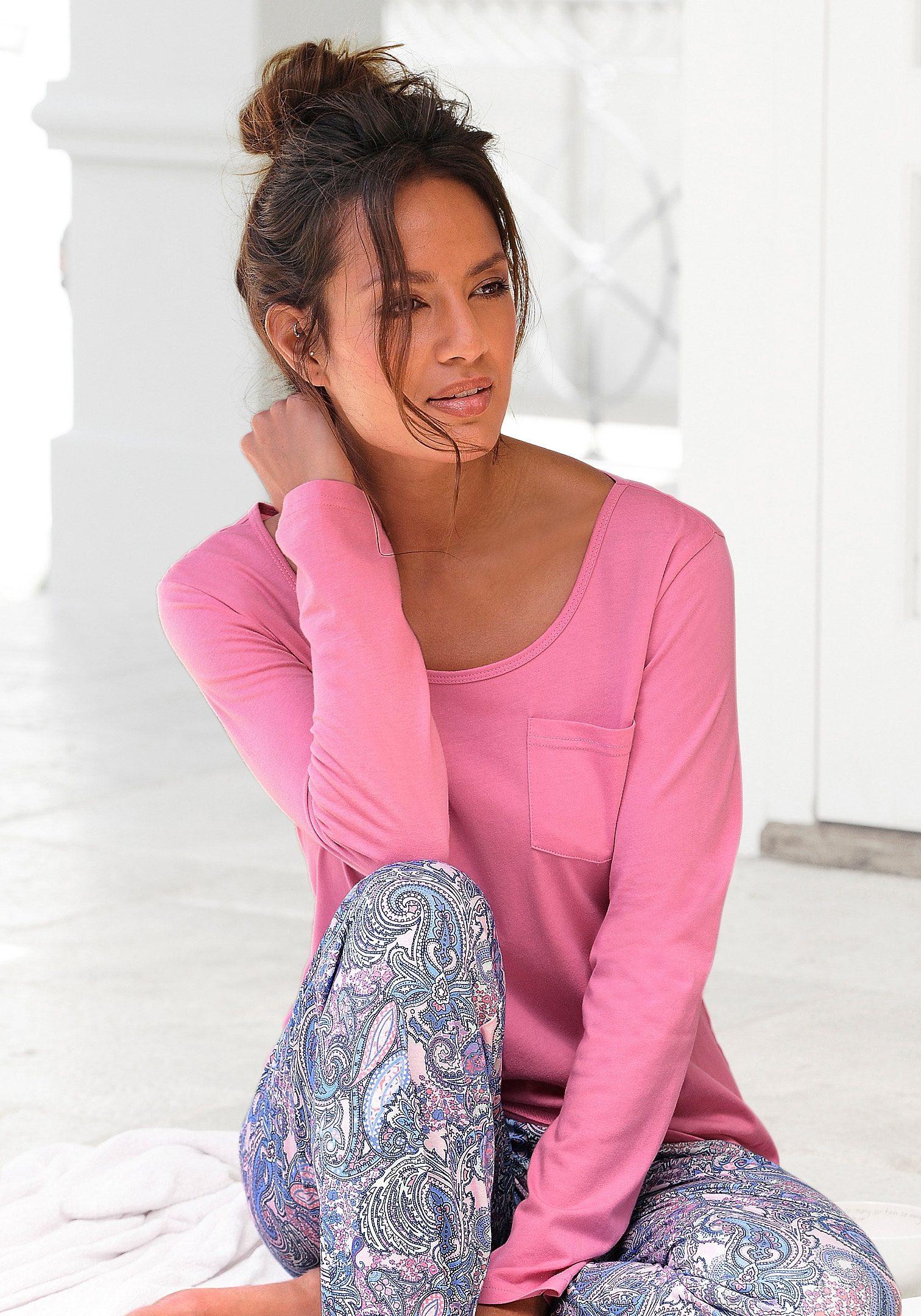 Petite Fleur Basic Langarmshirt »Paradise« mit Brusttasche