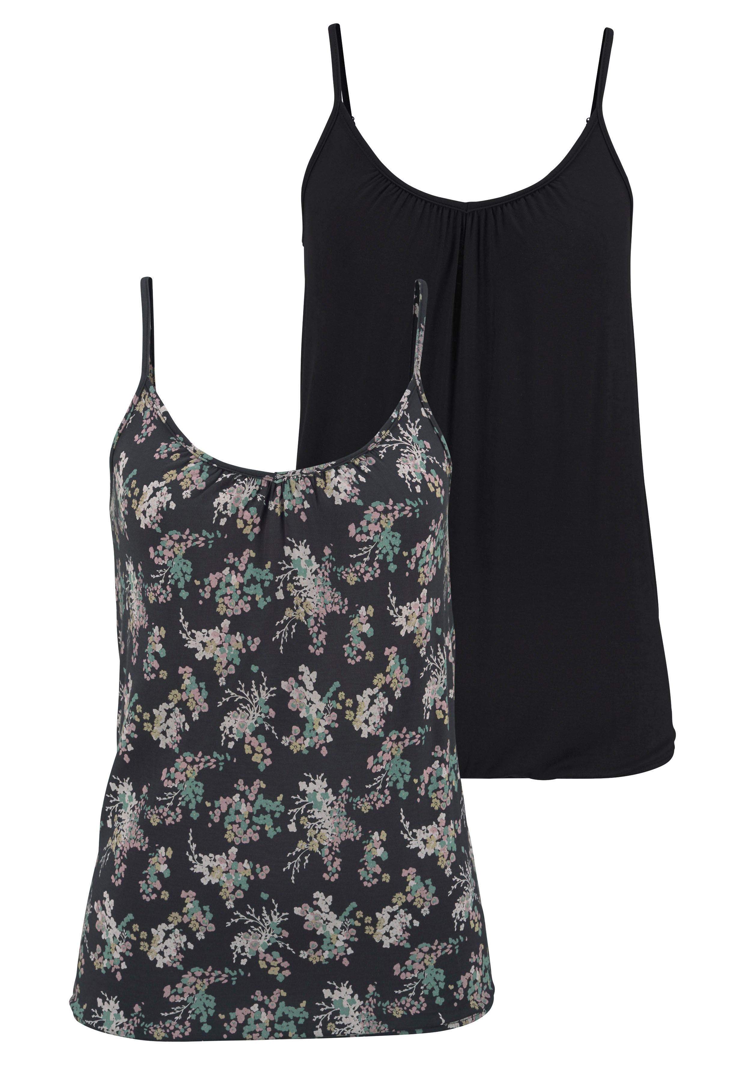LASCANA Tops (2 Stück) mit Allover-Blumen-Print