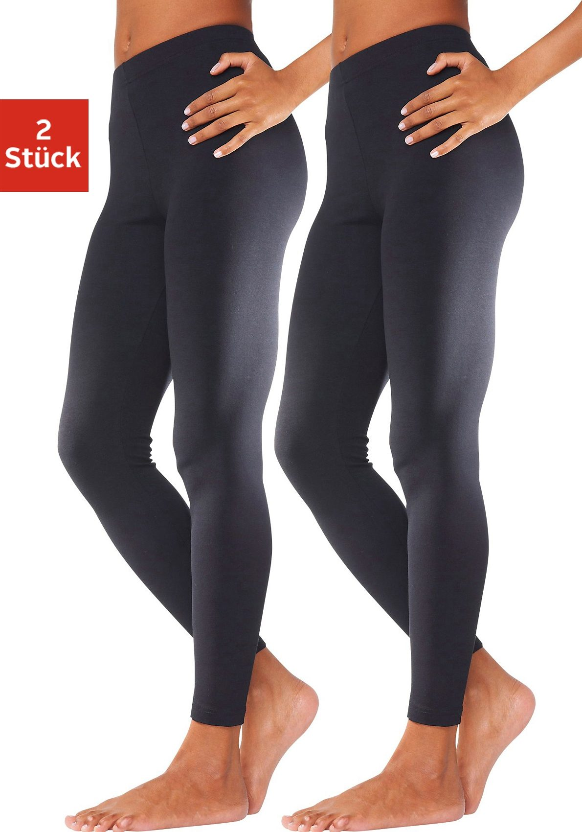 Vivance Basic Leggings (2 Stück) in körpernaher Passform