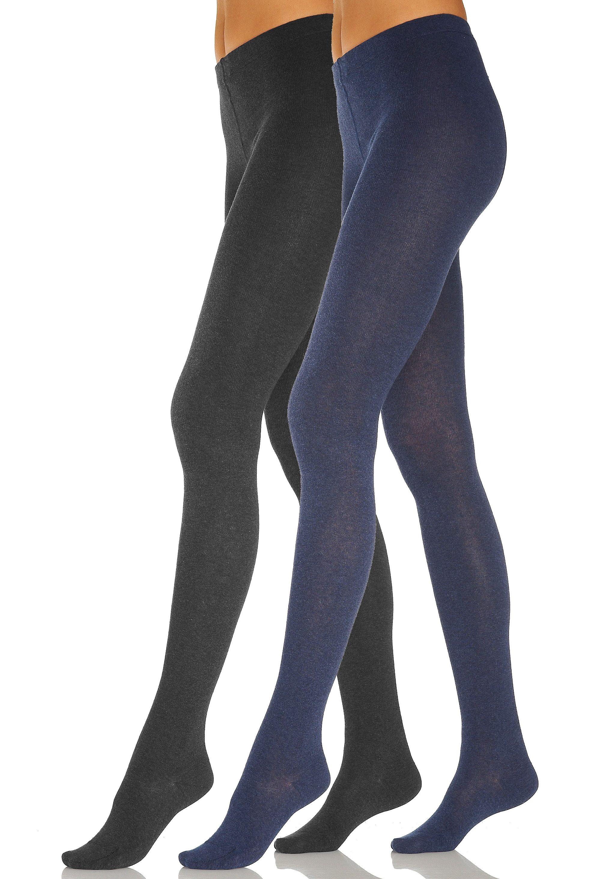 Lavana Basic Strumpfhosen (2 Paar) glatt gestrickt