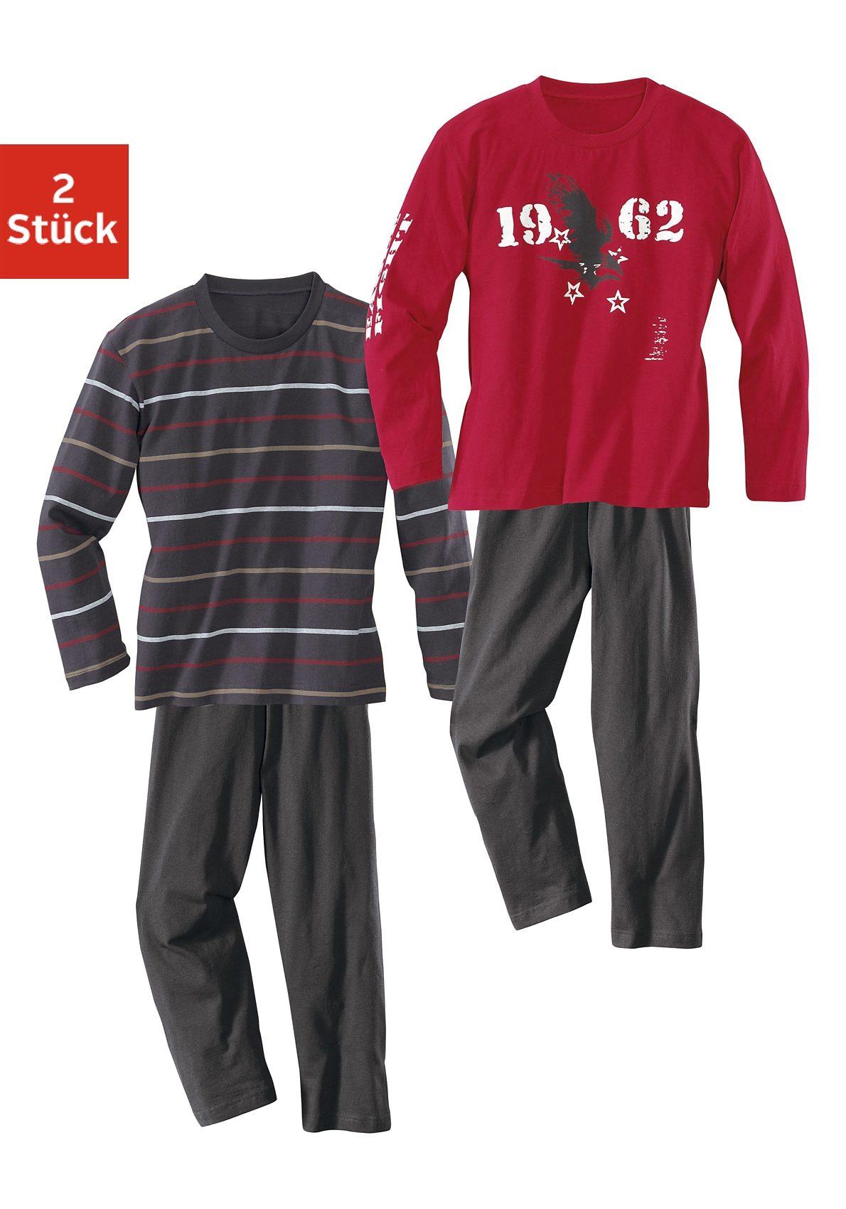 Baumwoll- Pyjamas, Oberteile gestreift oder mit modischem Adlerdruck (2 Stück)