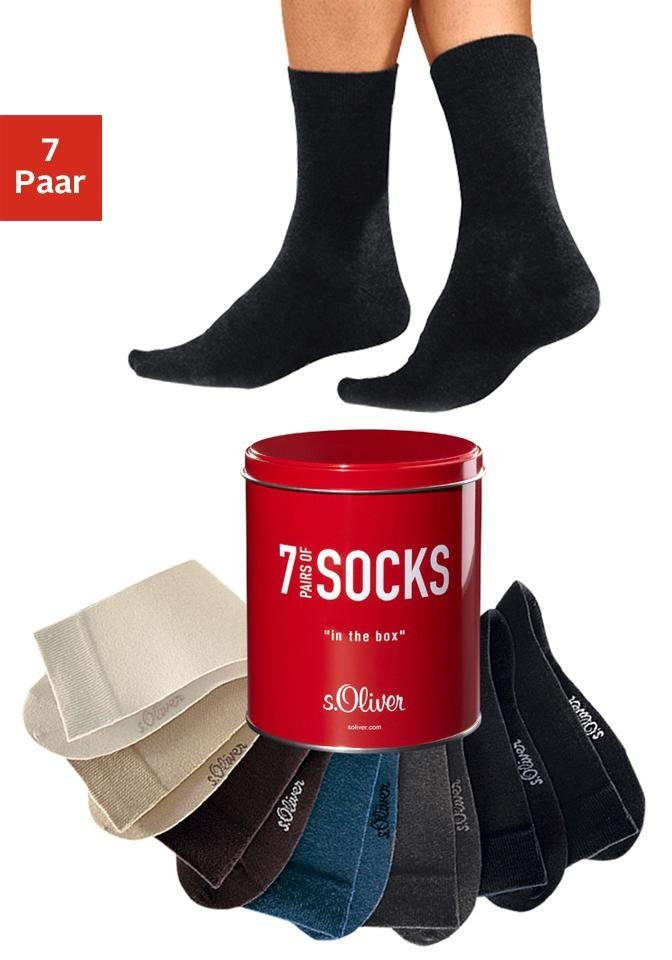 s.Oliver RED LABEL Bodywear Freizeit- und Businesssocken (7 Paar) in der Dose