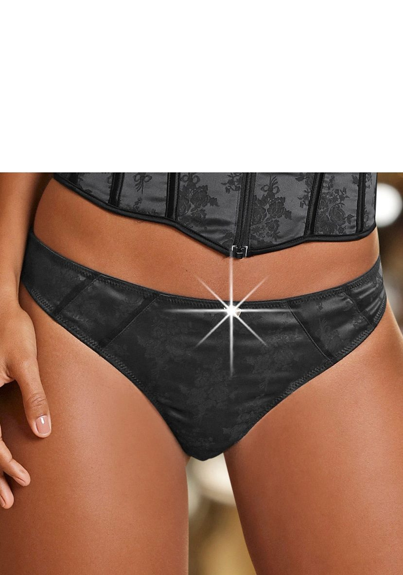 LASCANA String aus Satin-Material mit Strass-Accessoire