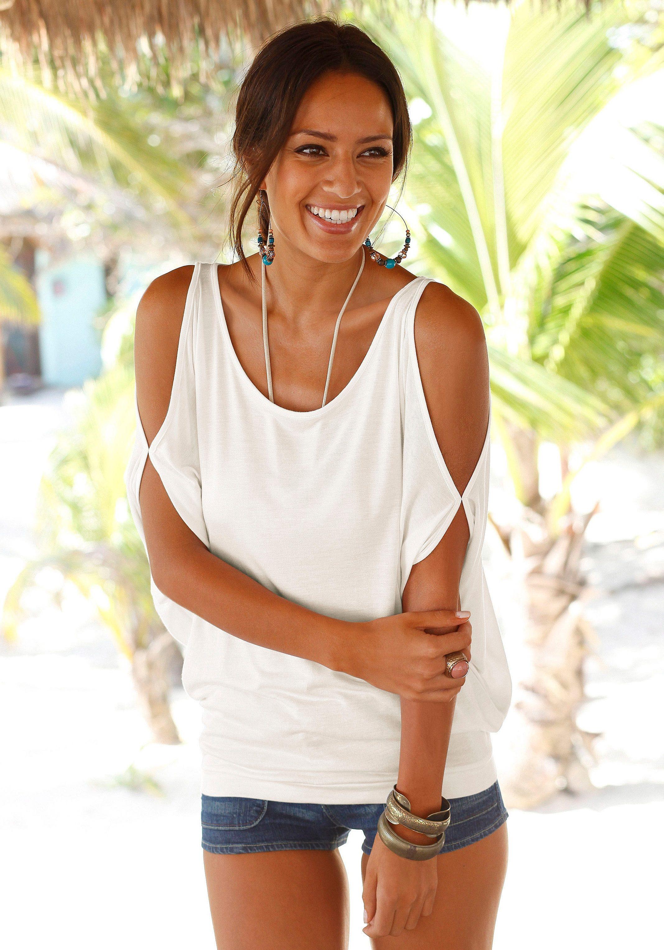 LASCANA Shirt mit Schulterschlitzen
