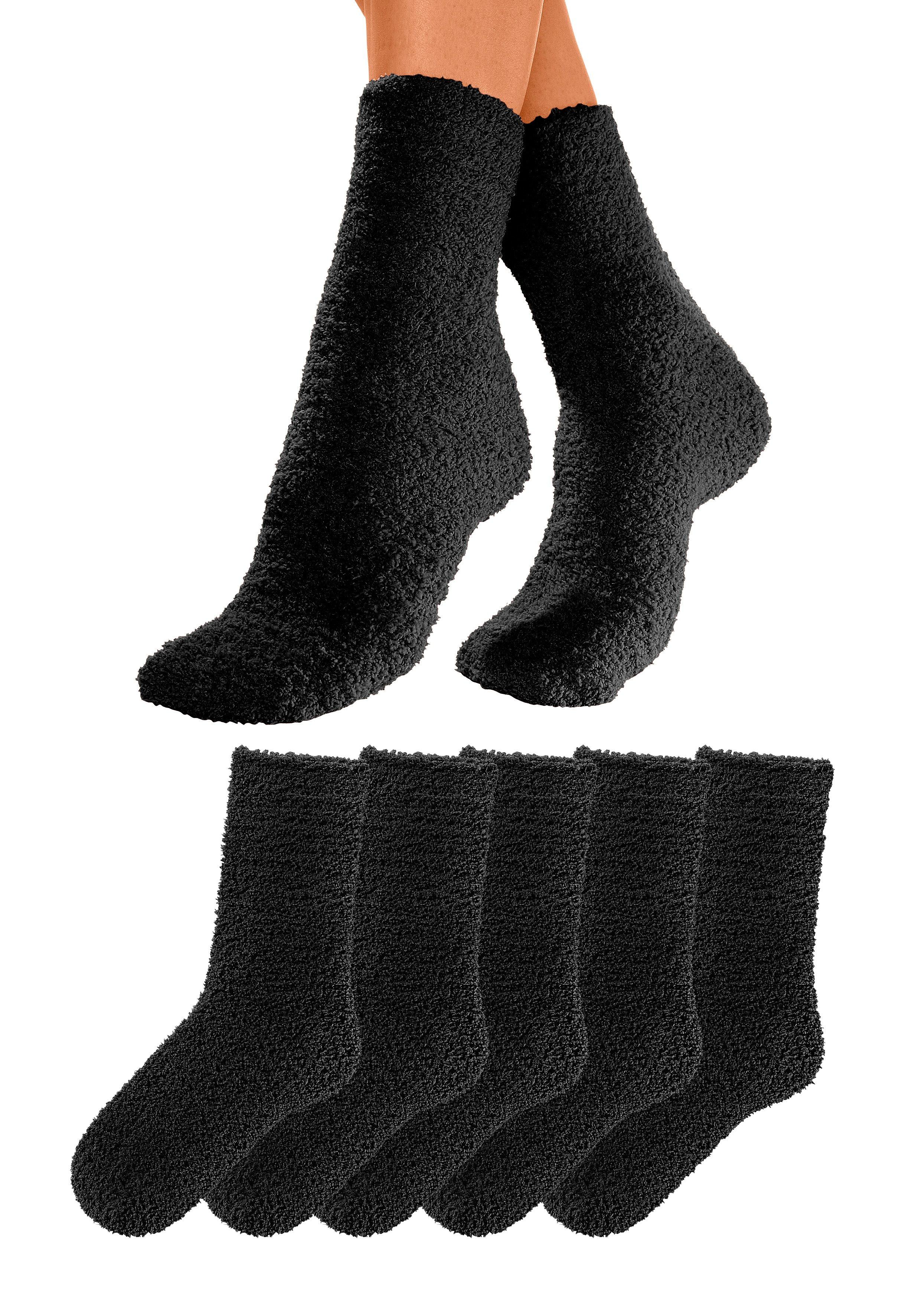 Lavana Basic Kuschelsocken (5 Paar) ideal als Hausschuhersatz