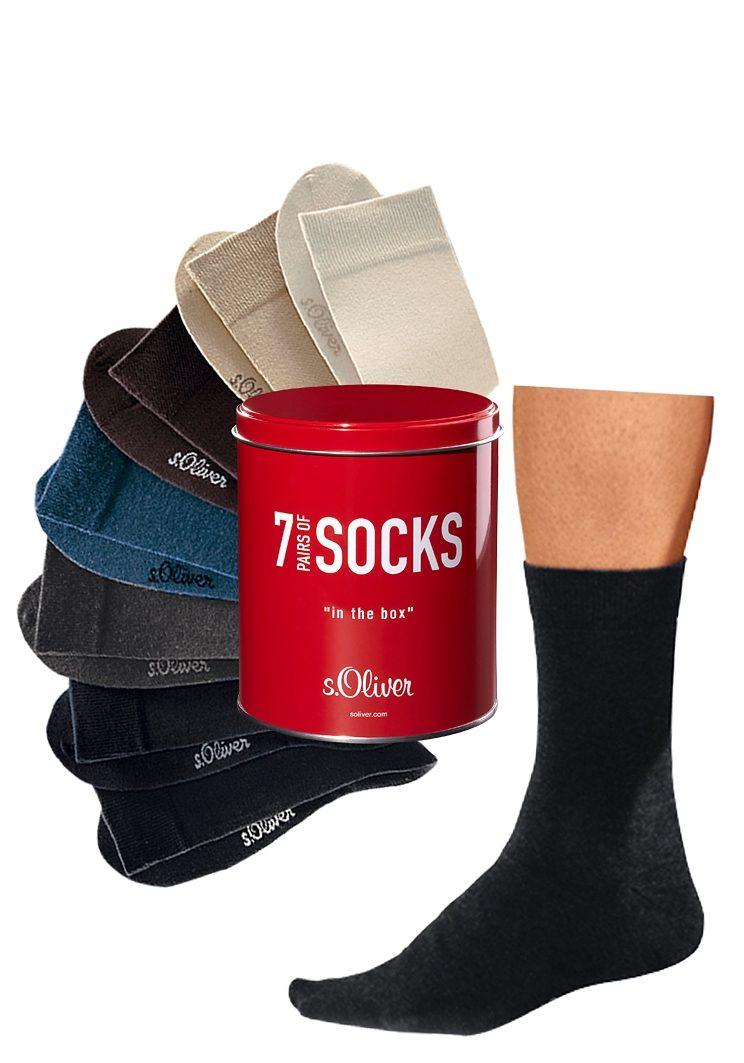 s.Oliver RED LABEL Bodywear Freizeit- und Businesssocken (7 Paar) in der Dose