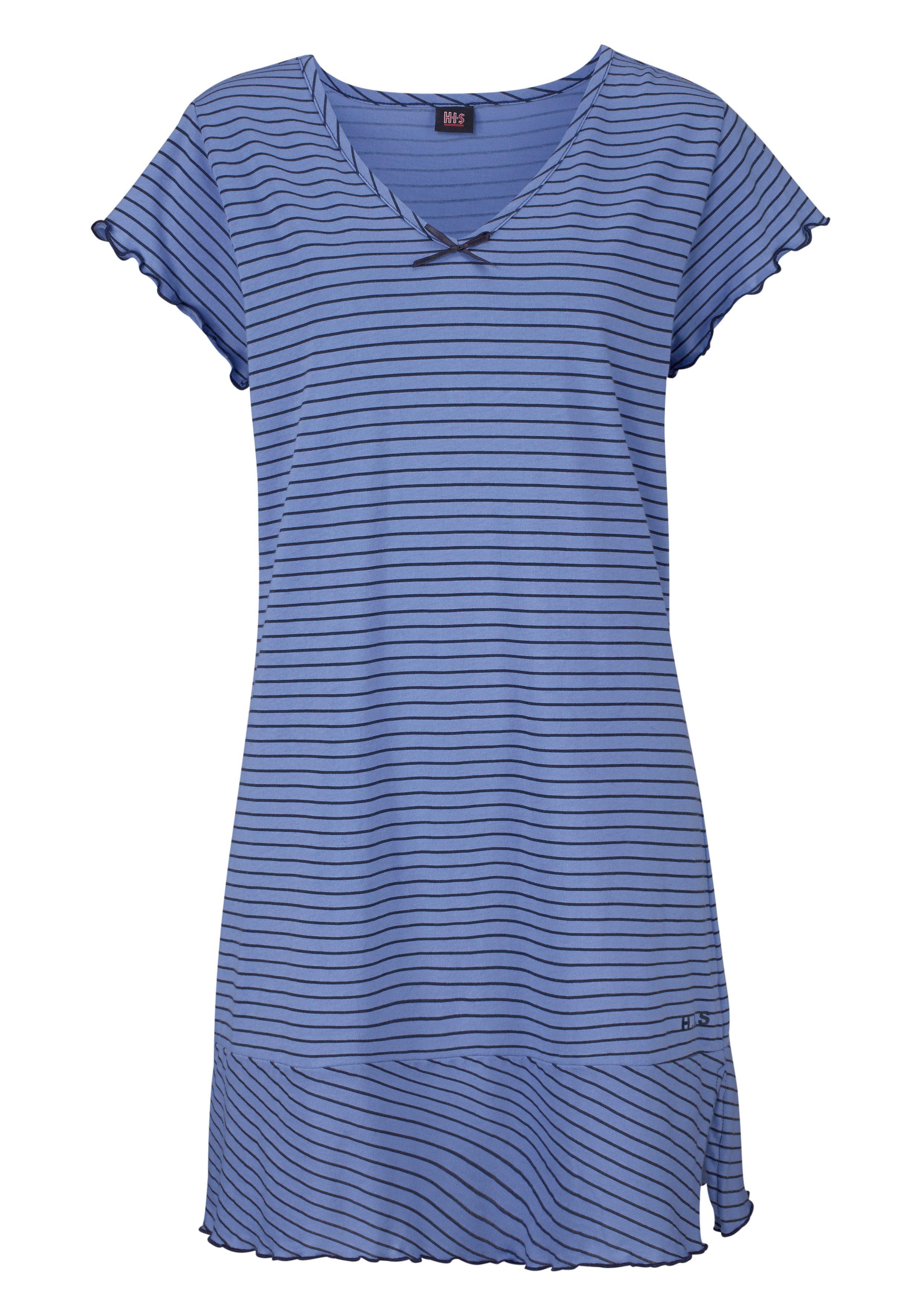H.I.S Nachthemd in süßem Streifenlook mit Kräuselrändern