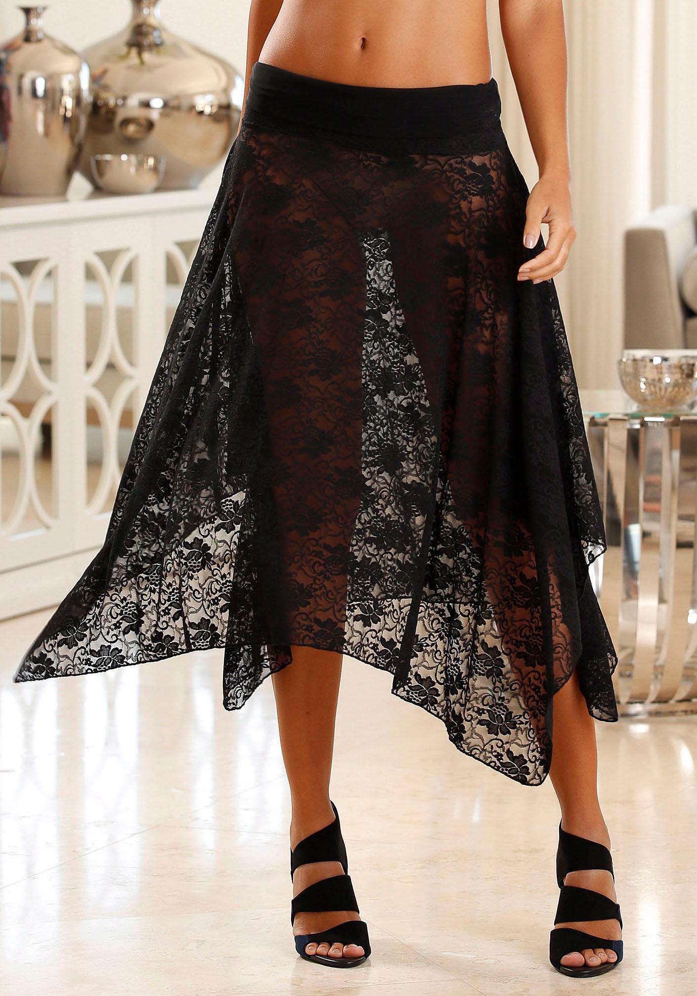LASCANA Multiway-Rock / - Kleid aus transparenter Spitze mit 3 Tragevarianten