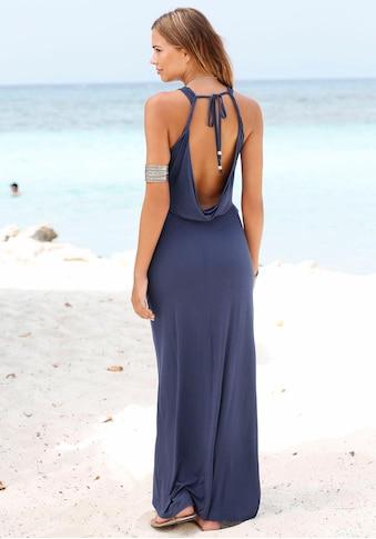 s.Oliver Beachwear Maxikleid, mit tiefem Rückenausschnitt