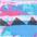 pink-blau bedruckt