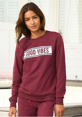 s.Oliver Bodywear Sweatshirt, mit Frontdruck «Good Vibes»