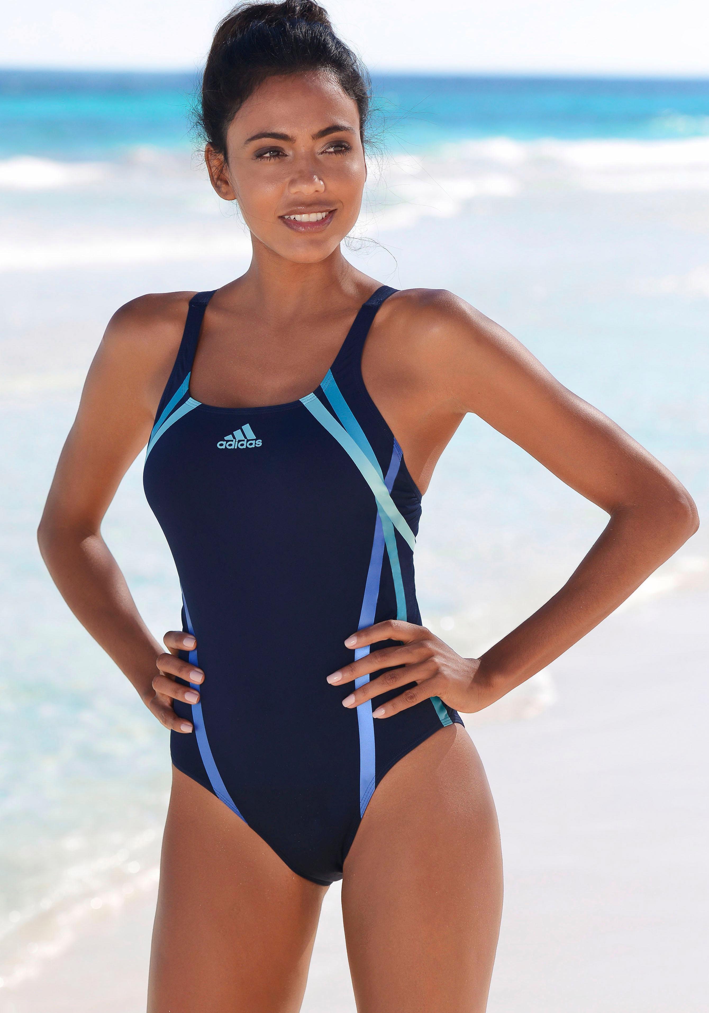 adidas Performance Badeanzug mit sportlichem Streifenprint