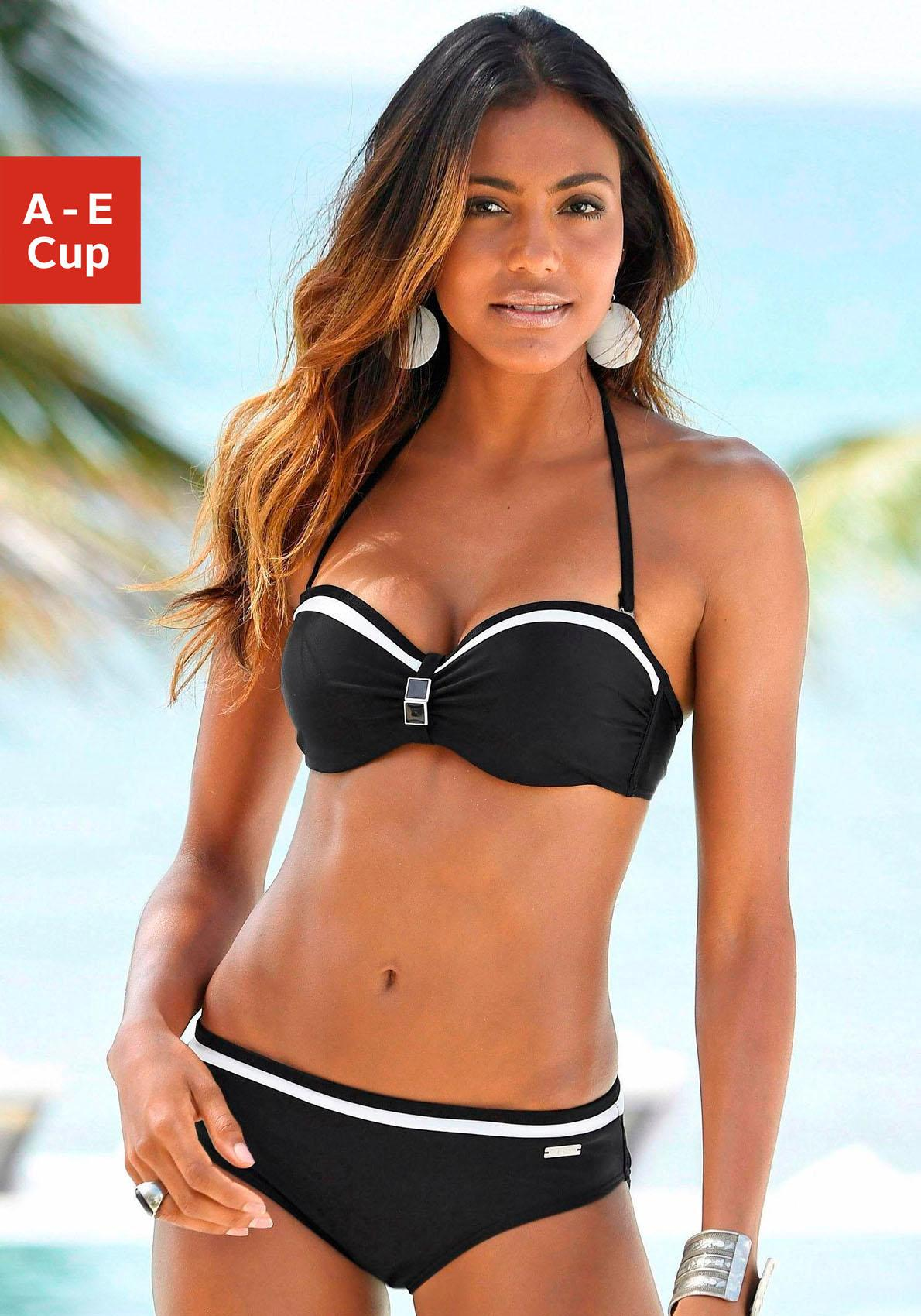 LASCANA Bügel-Bandeau-Bikini mit Kontrastdetails