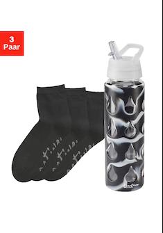LASCANA ACTIVE Kurzsocken Black Marble (Flasche, 3 Paar)