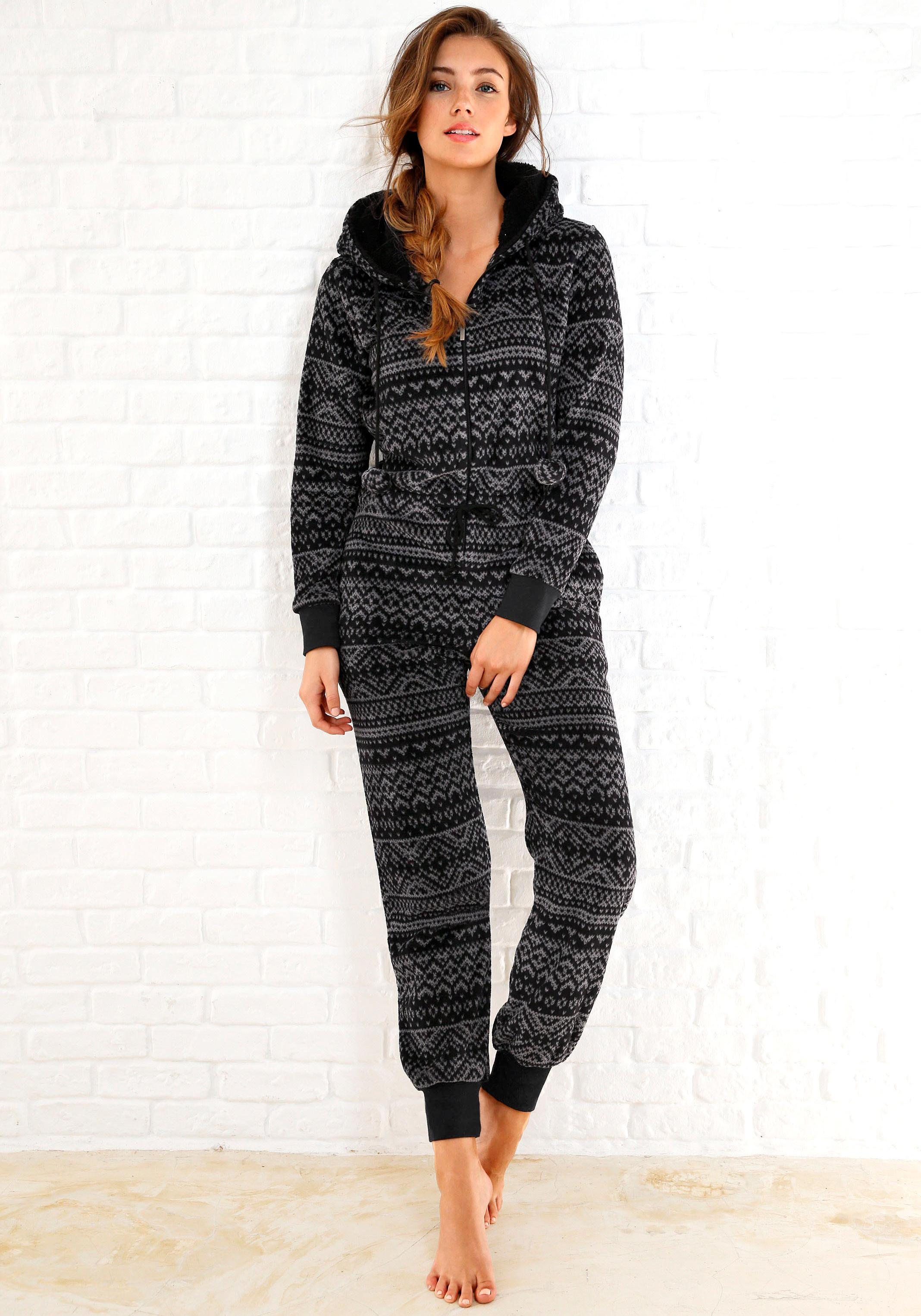 Rebelle Jumpsuit aus Fleece in schwarz-grauem Norwegerdesign