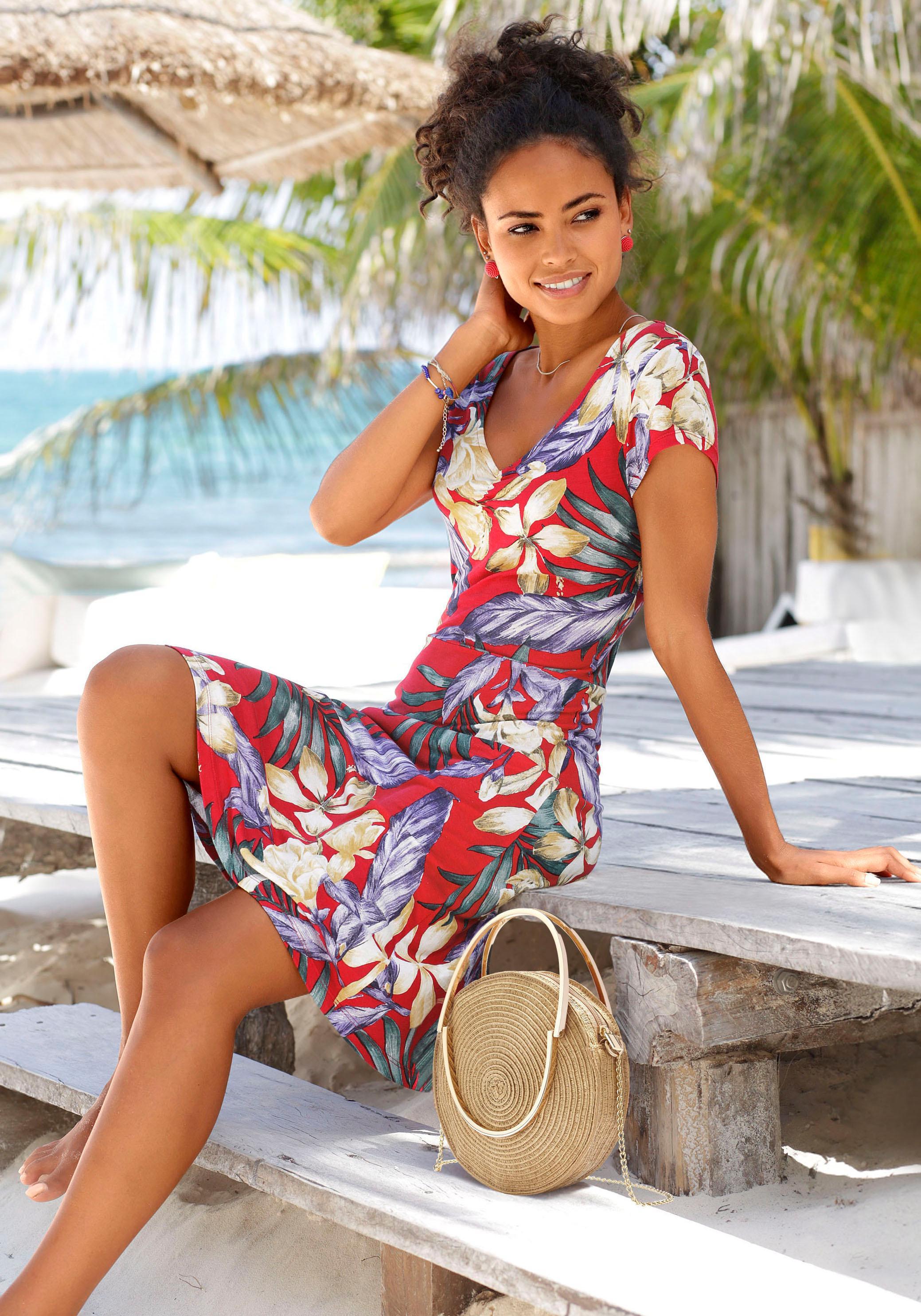 LASCANA Strandkleid mit V-Ausschnitt