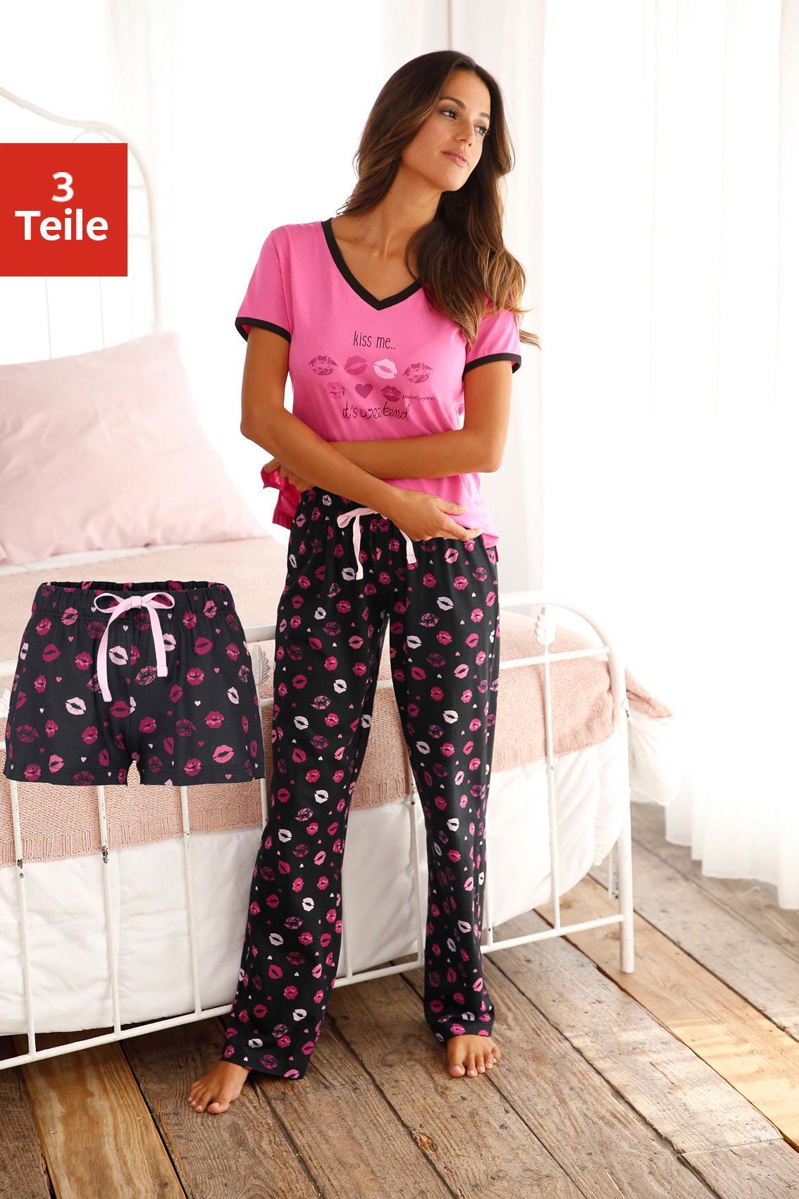 Vivance Dreams Pyjama-Set (3-teilig) mit Kussmund Print