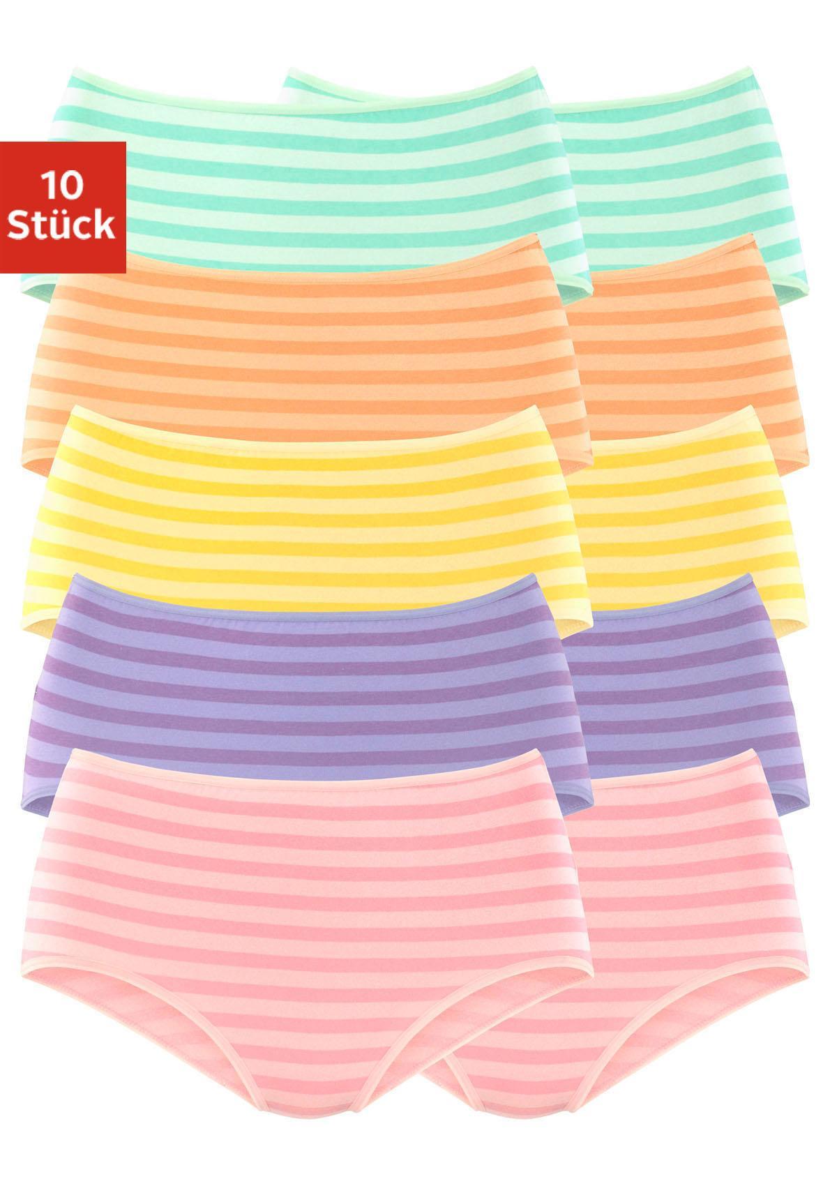 GO IN Taillenslips (10 Stück), in verschiedenen Farben mit Streifen