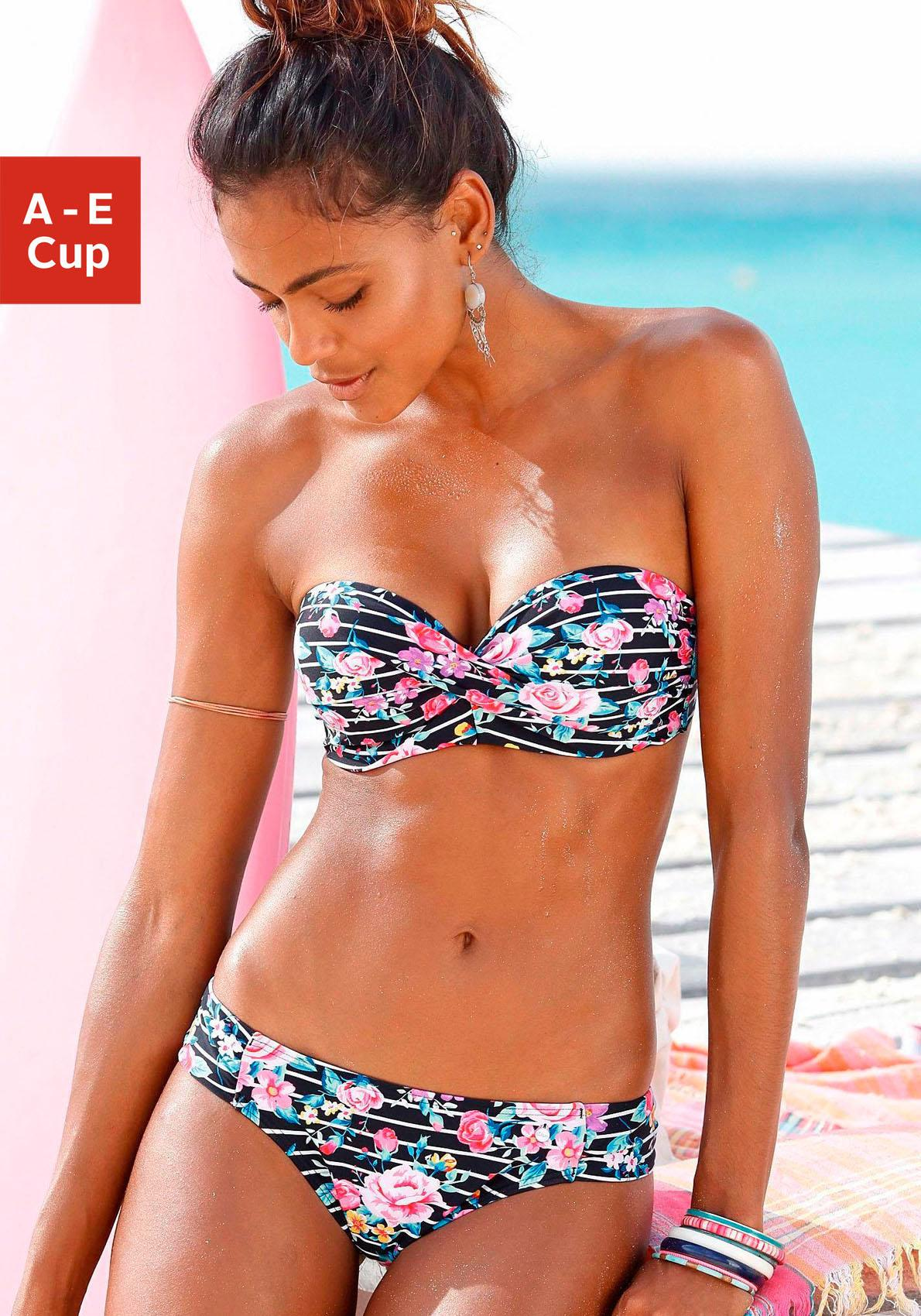 s.Oliver RED LABEL Beachwear Bügel-Bandeau-Bikini mit Blumenprint
