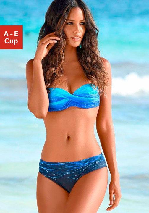 LASCANA Bügel-Bandeau-Bikini mit Farbverlauf in Batik-Optik
