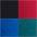 petrol + schwarz + blau + rot