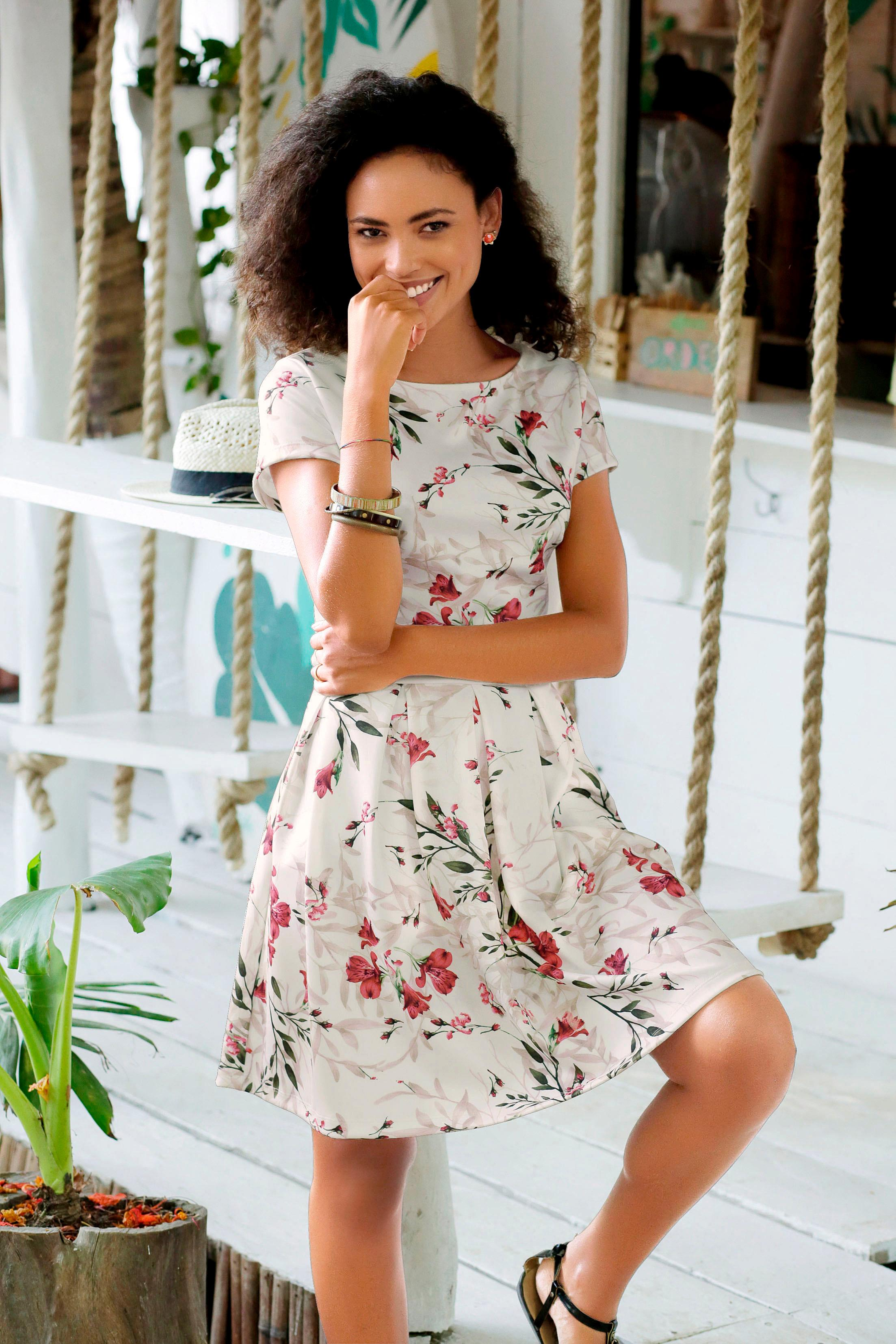 LASCANA Scuba-Kleid mit Blumenmuster