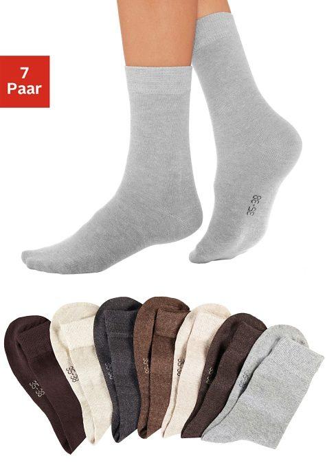 Lavana Basic Socken (7 Paar) mit druckfreiem Bündchen