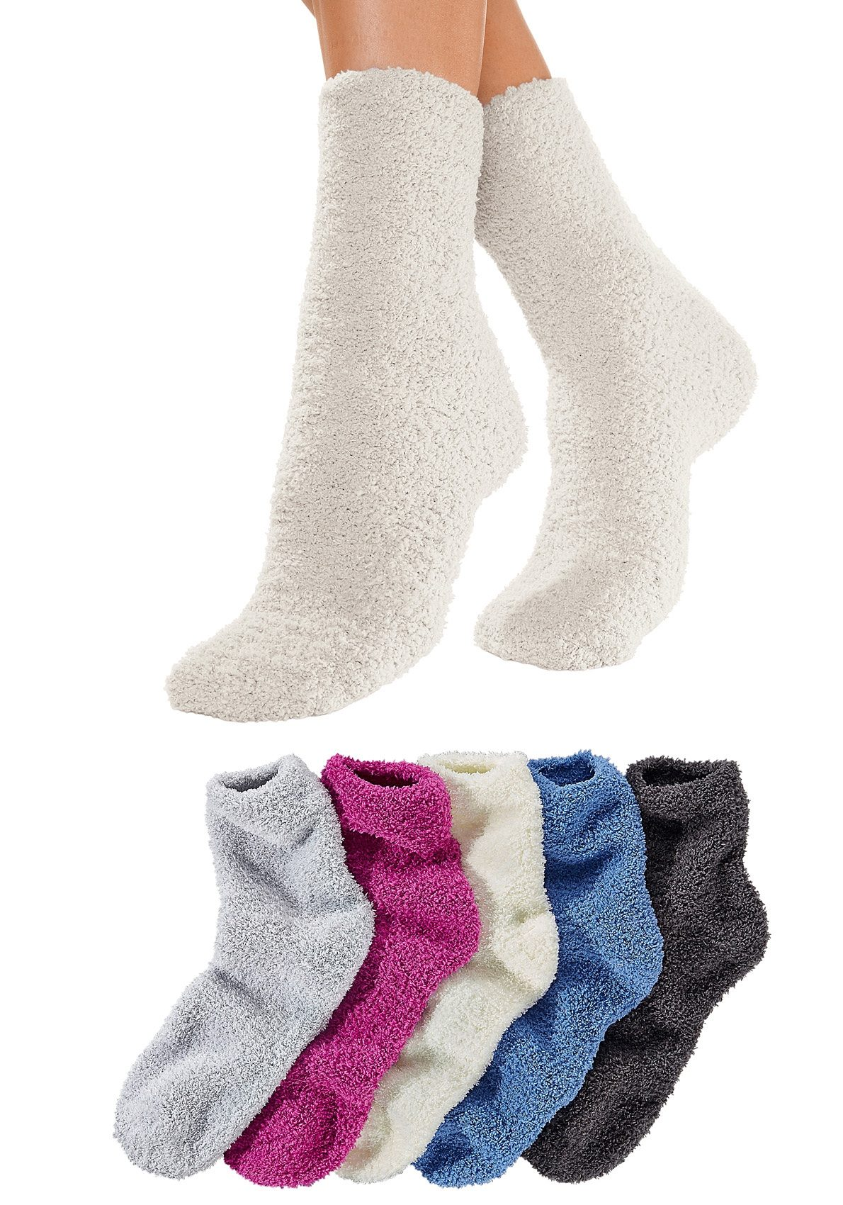 Lavana Basic Kuschelsocken (5 Paar) ideal als Bettsocken