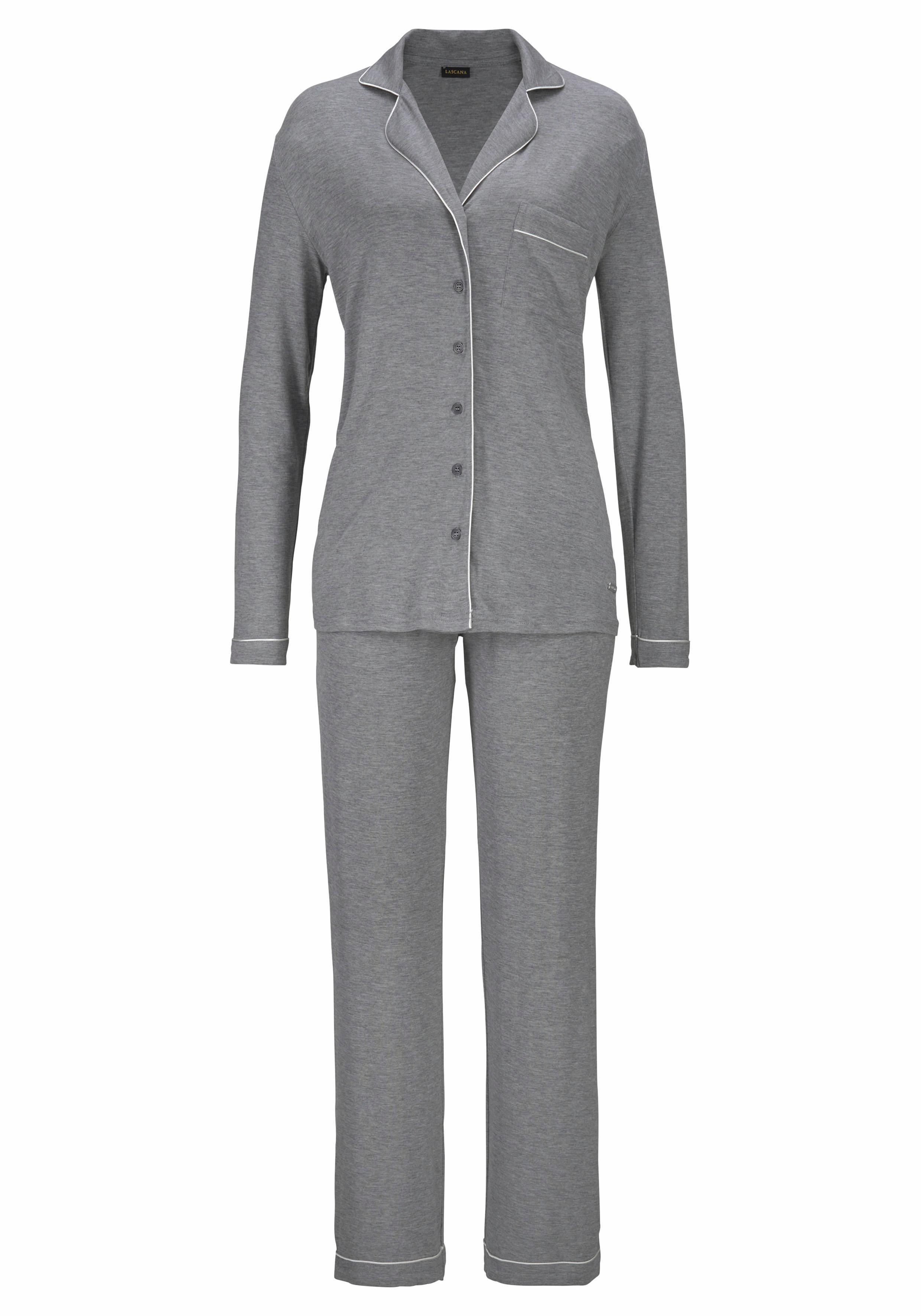 LASCANA Pyjama in klassischem Design mit Hemdkragen und Knopfleiste