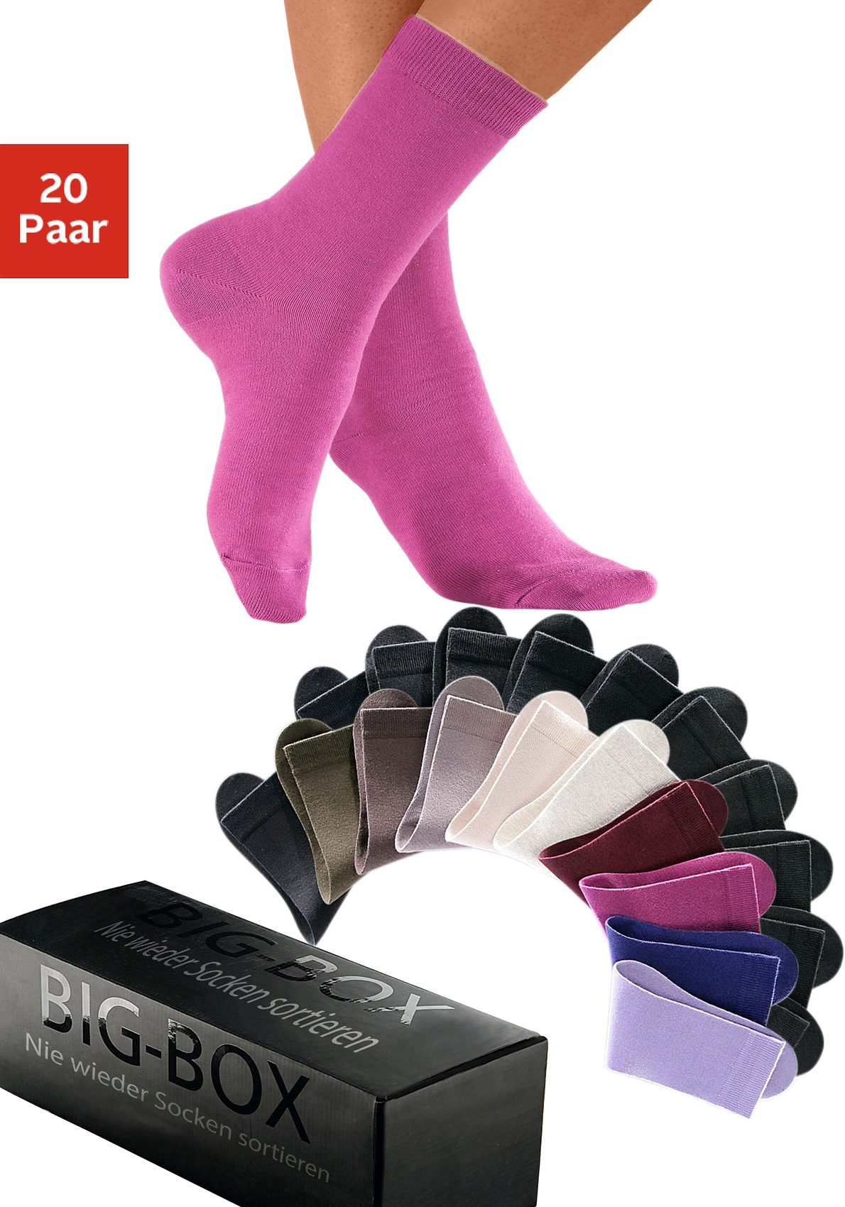 Basic-Socken im Multipack (20 Paar) in der Big-Box