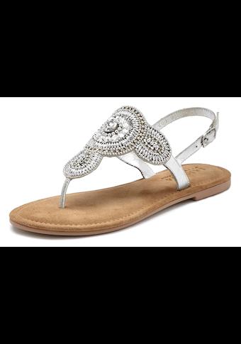 LASCANA Zehensteg-Sandale mit aufwendiger Verzierung und softer Lederinnensohle