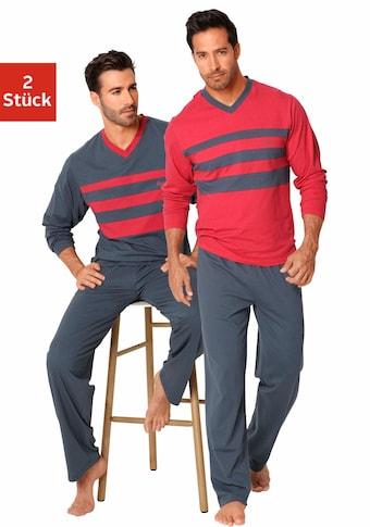 le jogger® Pyjama, (2 Stück), mit Colourblocks
