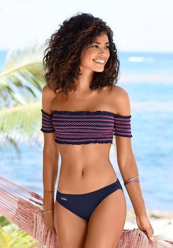 LASCANA Bandeau-Bikini, Mit smoke Effekten und Stickerei