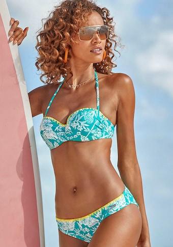 Venice Beach Bügel-Bandeau-Bikini, mit kontrasfarbener Häkelkante