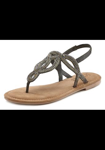 LASCANA Zehensteg-Sandale mit Schmucksteinen und softer Lederinnensohle