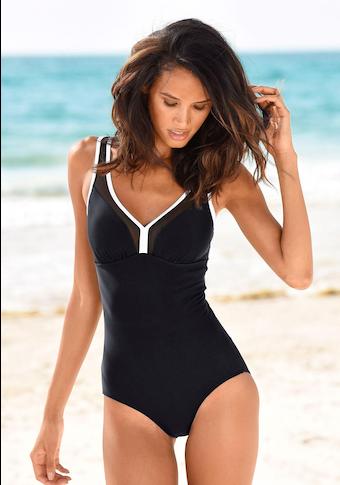 LASCANA Badeanzug, mit Mesh-Einsatz und Shaping-Effekt