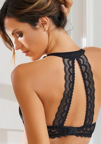 LASCANA Neckholder-BH, mit dekorativem Spitzenrücken und Komfort-Nackenträger
