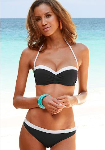 LASCANA Bügel-Bandeau-Bikini, mit kontrastfarbener Einfassung