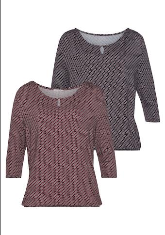 Vivance 3/4-Arm-Shirt, mit kleiner Öffnung und goldfarbenen Zierknopf am Ausschnitt