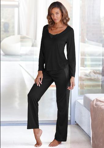 LASCANA Pyjama, mit Details aus Spitze