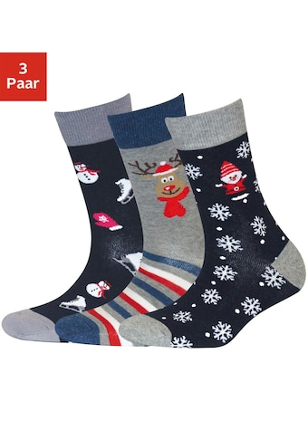 Sympatico Socken, (3 Paar), mit Weihnachts-Design
