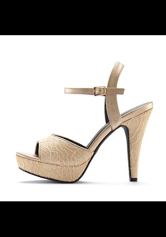 LASCANA High-Heel-Sandalette, mit raffinierten Spitzendetails