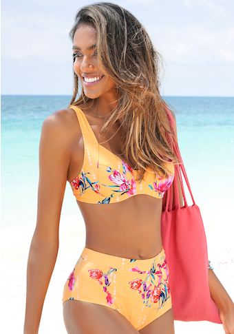 Sunseeker Highwaist-Bikini-Hose »Modern«, mit floralem Design