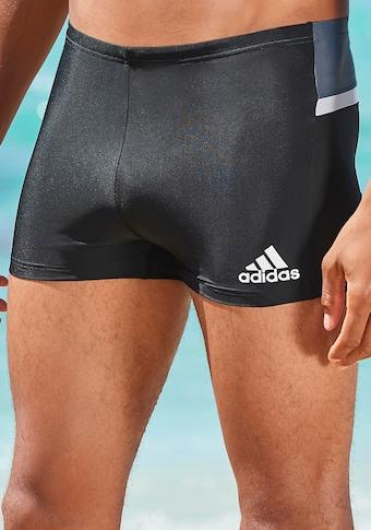 adidas Performance Boxer-Badehose, Mit kontrastfarbenem Einsatz im Rückteil