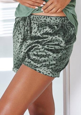 LASCANA Schlafshorts, aus Satin mit Animal-Print