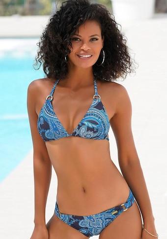 LASCANA Triangel-Bikini-Top »Boho«, mit Paisleymuster und Zierringen