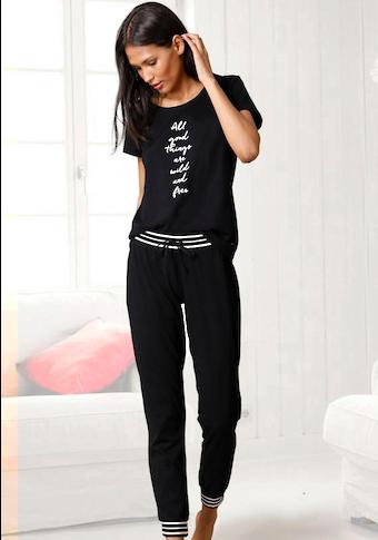 s.Oliver Pyjama, mit gestreiften Rippbündchen