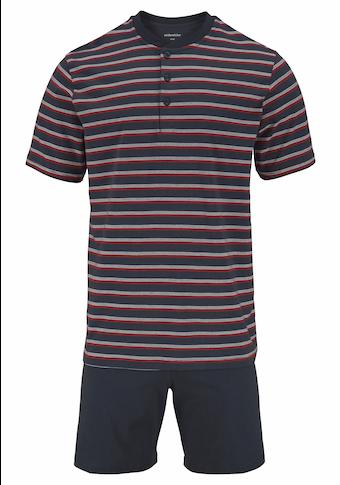 seidensticker Pyjama, mit Streifen und Knopfleiste